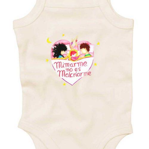 body bebe rosa tirantes con mensaje crianza respetuosa mimar