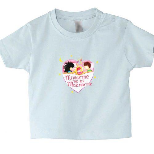 camiseta bebe manga corta azul con mensaje crianza respetuosa mimar