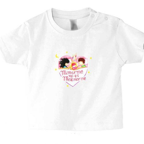 camiseta bebe manga corta blanca con mensaje crianza respetuosa mimar