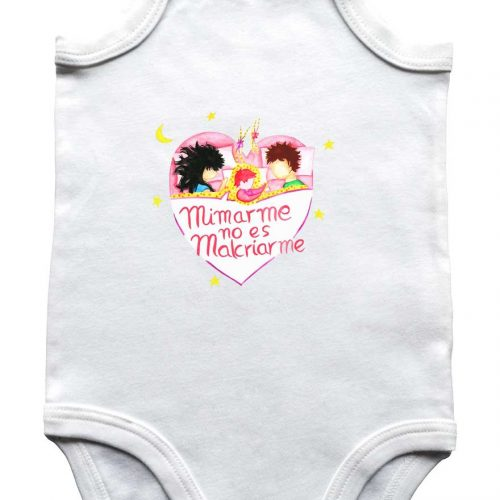 camiseta bebe manga corta blanco con mensaje crianza respetuosa mimar