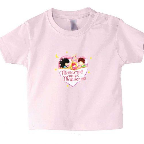 camiseta bebe manga corta rosa con mensaje crianza respetuosa mimar